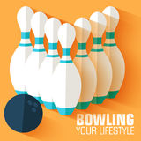 Flat sport bowling background concept. Vector Royalty Free Stock Photos