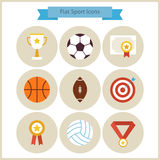 Flat Sport and Competition Winning Icons Set. Sports and Activities. Success Leader and Winner. First place. Collection of Back to School Circle Icons. Healthy Royalty Free Stock Photography