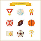 Flat Sport and Competition Winning Objects Set. Sports and Activities. Success Leader and Winner. First place. Collection of Back to School Objects  over white Stock Images
