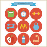 Flat Sport and Fitness Icons Set Royalty Free Stock Photo