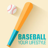 Flat sport icon baseball background concept. Stock Photography