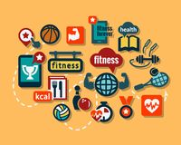 Flat sport icons. Fitness and Sport  icons for web and mobile. All elements are grouped Stock Photography