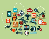 Flat sport icons set Royalty Free Stock Images