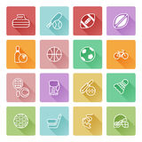 Flat sport icons. Sports icons set with icons for many sports including soccer, cricket, golf and many more Stock Photo