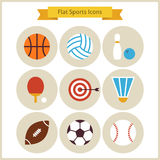 Flat Sport and Recreation Icons Set Stock Photos