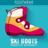 Flat sport ski boots background concept. Vector Royalty Free Stock Photography
