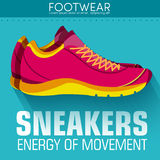 Flat sport sneakers background concept. Vector Stock Photography