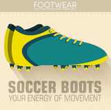 Flat sport soccer boots icon background concept. Stock Photos
