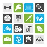 Flat Sports gear and tools. Vector icon set Royalty Free Stock Photos