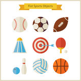 Flat Sports Objects Set Royalty Free Stock Image