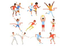 Flat sports people taking part in different competition. Basketball players, karate fighters, tug of war, athletes royalty free illustration