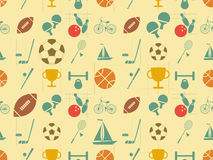 Flat Sports Seamless Background Stock Image