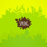 Flat spring background, bright green leaves. Vector pattern vector illustration