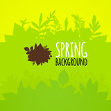 Flat spring background, bright green leaves. Vector pattern stock illustration