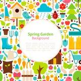 Flat Spring Garden Vector Background Royalty Free Stock Photos