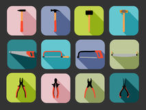 Flat square tools icons Royalty Free Stock Photos