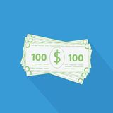 Flat stack of money icon. Business vector illustration of flat stack of money icon. 100 dollar bills with long shaddow Stock Images