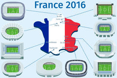 Flat Stadiums and town football Championship. France 2016 Royalty Free Illustration