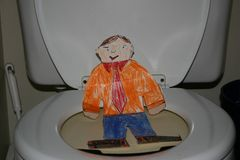 Flat Stanley on the Toilet royalty free illustration