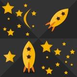 Flat start up stars and rocket set Stock Photography