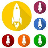Flat Startup Rocket Beginning Fly Up Start Business Concept icon design and long shadow Royalty Free Stock Photo