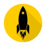 Flat Startup Rocket Beginning Fly Up Start Business Concept icon design and long shadow Stock Images