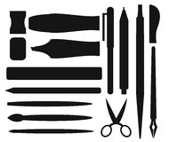Flat stationery and drawing black tools pen set Stock Photo