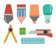 Flat stationery - flat user interface Royalty Free Stock Photography