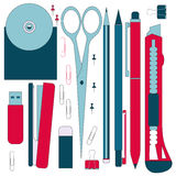 Flat stationery tools, pen set. Pen, pencil, scissors, collection. Pens vector set. School pens tools. Office tools. Flat stationery tools, pen set. Pen, pencil Stock Photo