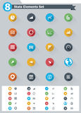Flat statistic elements icon set. Set of the simple flat statistic elements icons Royalty Free Stock Image