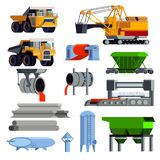 Flat Steel Production Metallurgy Icon Set. Isolated and flat steel production metallurgy icon set with operating machines and containers for transportation stock illustration