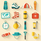 Flat sticker colorful vector tourist equipment. Icons illustration Stock Image
