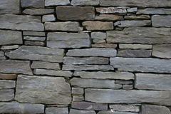 Flat stone texture. Traditional way of building stone walls in Ireland, crushed flat stones from a rock, on flat, mortar hidden at the back Royalty Free Stock Photography
