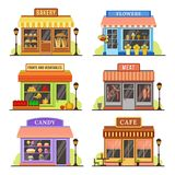 Flat store. Modern shop, boutique shopfront and restaurant facade design. Shopping stores cartoon illustration set stock illustration