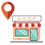 Flat store shop with red pin. Vector and isolated white background.Pin a place concept Royalty Free Stock Photo