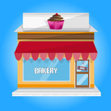 Flat Street Shop Building of Bakery With Big Window And Door For Web Usage Stock Images