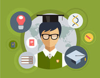 Flat student for school vector illustration Stock Photography