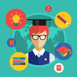 Flat student for school vector illustration. Science objects, or University and College symbols. Stock design elements Royalty Free Stock Images