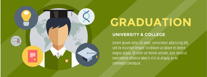 Flat student. School vector illustration. Science Royalty Free Stock Images