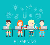 Flat students e-learning laptops big table vector. Royalty Free Stock Image