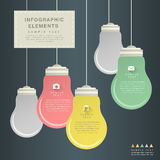 Flat style abstract bulb infographics. Flat design vector abstract bulb infographic elements Royalty Free Stock Photos