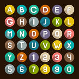 Flat Style Alphabet Icons Set. Numbers and Letters Royalty Free Stock Photo