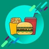 Fast food menu, hamburger, french fries, drink, illustration. royalty free stock photography