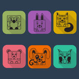 Flat Style Animals Avatar Vector Icon Set Royalty Free Stock Images