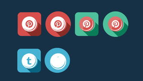 Flat Style Animated Social Icons stock video