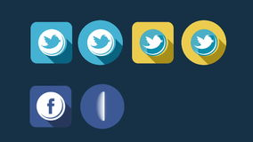 Flat Style Animated Social Icons stock video footage
