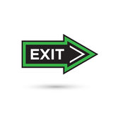 Flat style arrow shape exit sign isolated on white Royalty Free Stock Photography