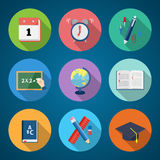 Flat Style Back to School Stationary Vector Icon Stock Photos