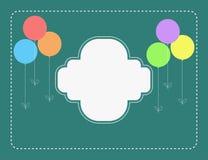Flat style balloons retro birthday card Stock Image