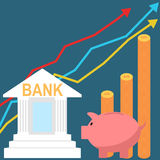 Flat style bank savings account concept Royalty Free Stock Images